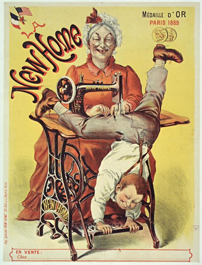 "da Gallica.bnf.fr  Pubblicità macchina per cucire ""New Home"", 1889"